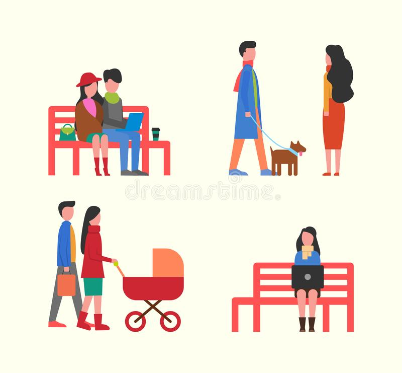 Couple Working on Laptop on Bench, Family Walking stock illustration