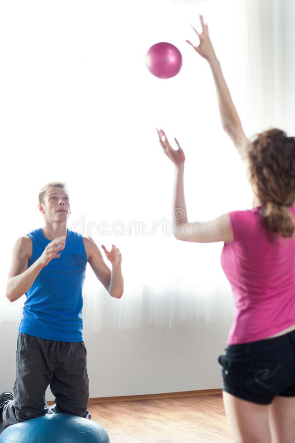 Couple working out stock photos