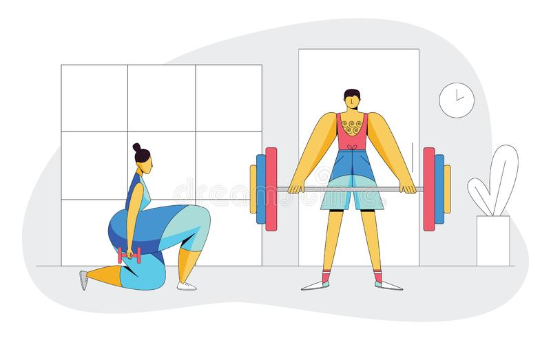 The  couple working out in the gym. Active people trying to lose weight. vector illustration