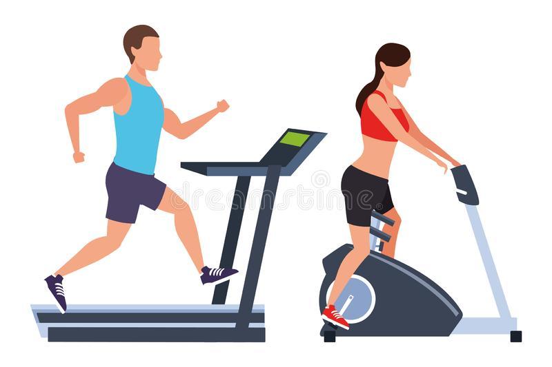 Couple working out in the gym vector illustration
