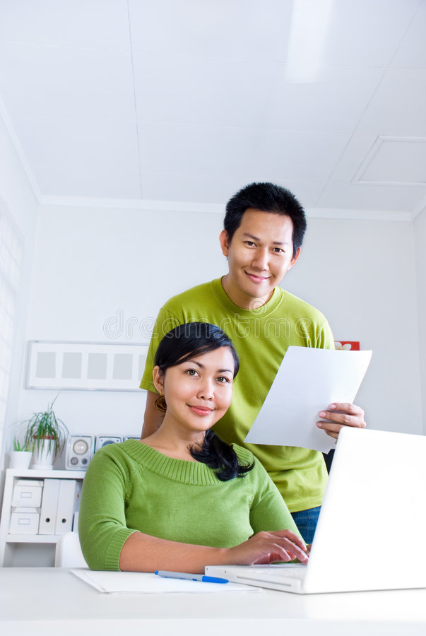 Download Couple working together stock image. Image of smile, asian - 3817373