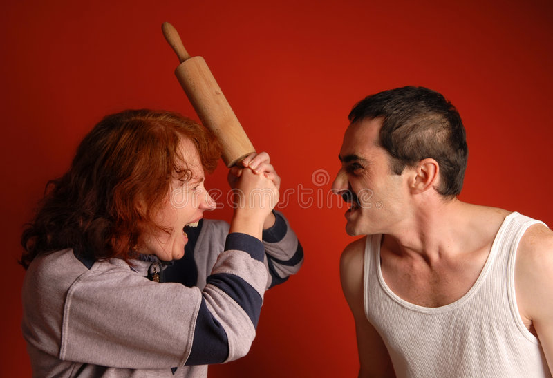 Couple in wrangle. Family row and negative emotions burst royalty free stock photos