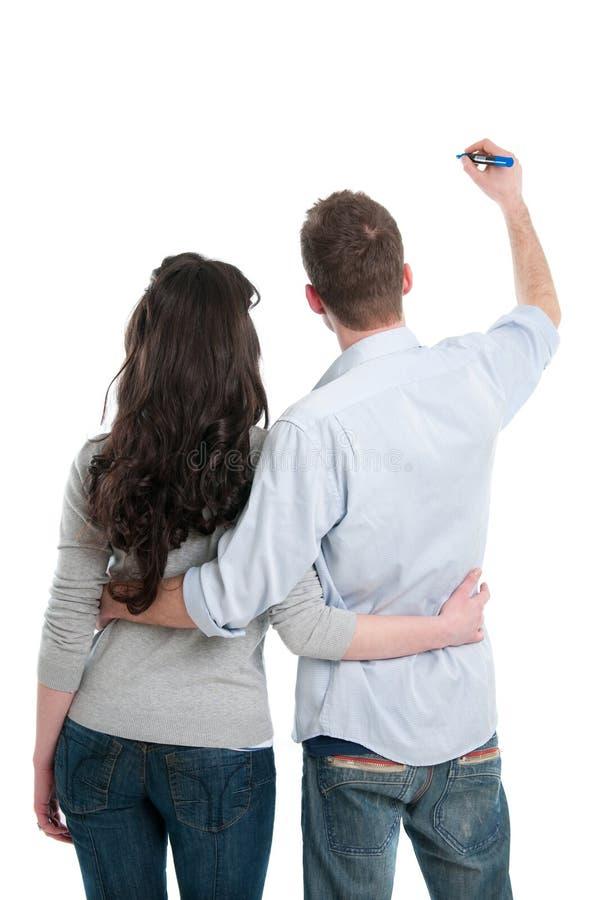 Free Couple Writing Your Text Stock Photos - 19717333