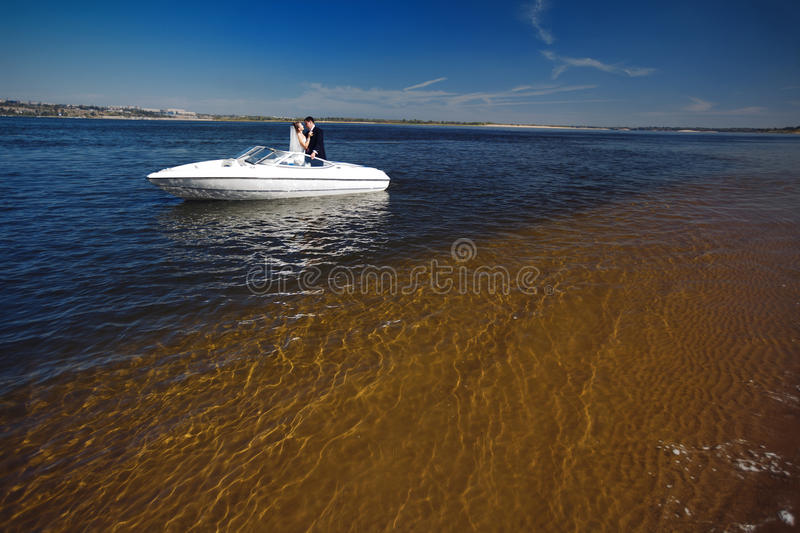 Couple on the yacht royalty free stock images