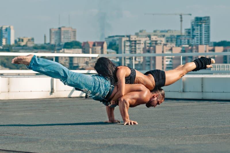 Couple yoga royalty free stock photos