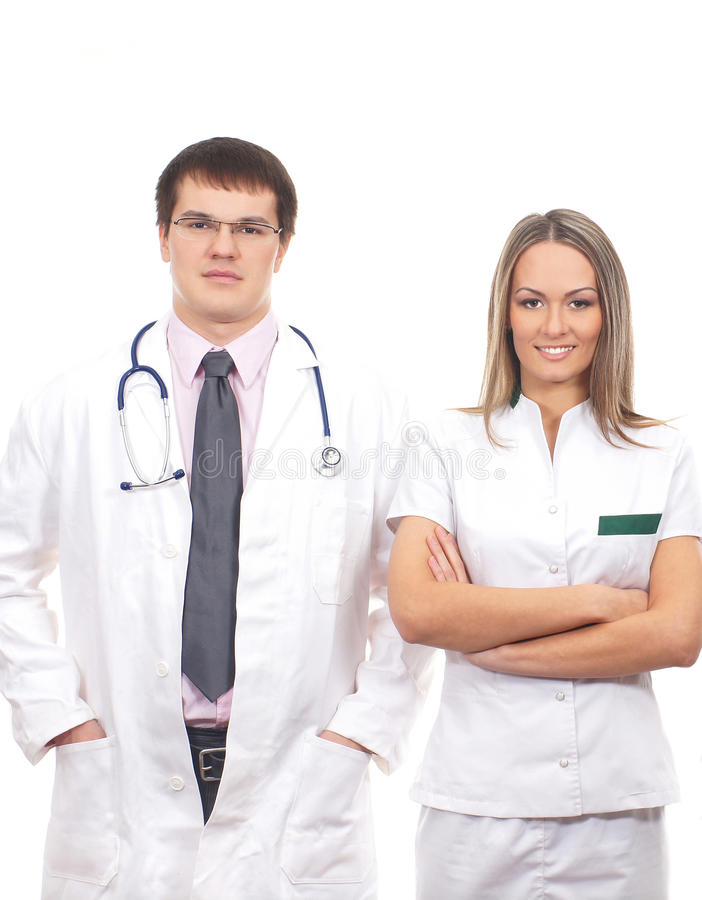 Download A Couple Of Young Caucasian Medical Workers Stock Image - Image of girl, glasses: 26536841