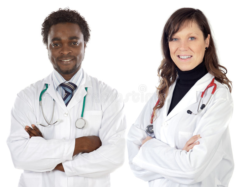 Couple of young doctors royalty free stock image