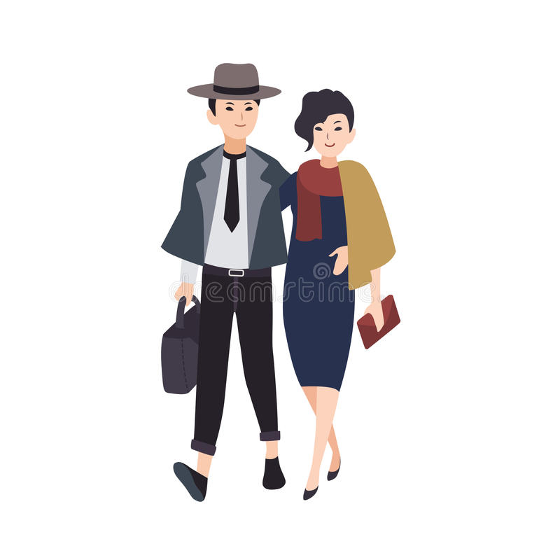 Couple of young elegant man and woman dressed in evening wear walking together. Pair of stylish hipsters going on vector illustration