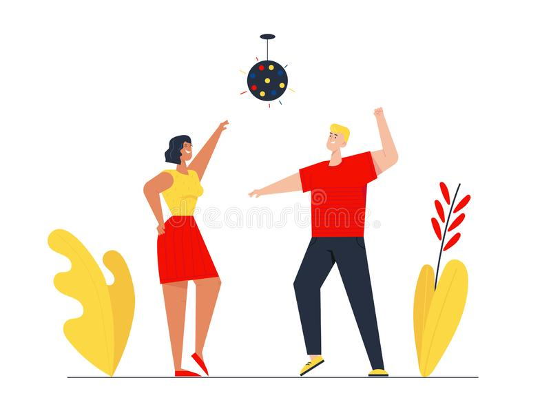 Couple of Young Girl and Man Visiting Night Club Dancing and Jumping with Hands Up under Stroboscope Lighting stock illustration