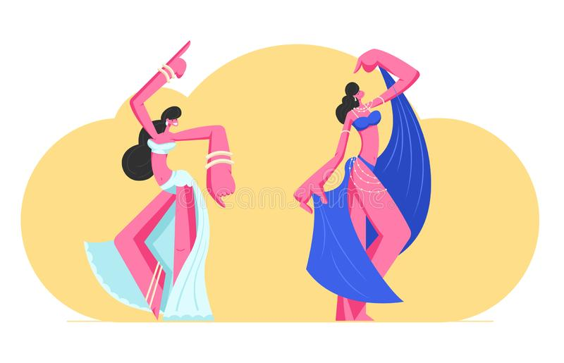 Couple of Young Girls in Beautiful Arabic Dresses and Jewelry Dancing Belly Dance with Raising Hands. Harem Women Swirling Arms stock illustration