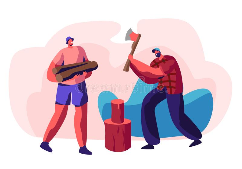 Couple of Young Men Chopping Wood. Bearded Guy with Ax in Hands Trying to Cut Log, Friend Holding Timbers. People Spend Time vector illustration
