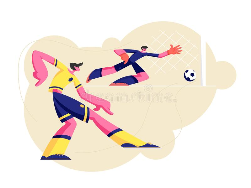 Couple of Young Men in Sports Uniform Practicing Football Game, Soccer Player Kicking Ball, Goalkeeper Catching it in Bounce vector illustration