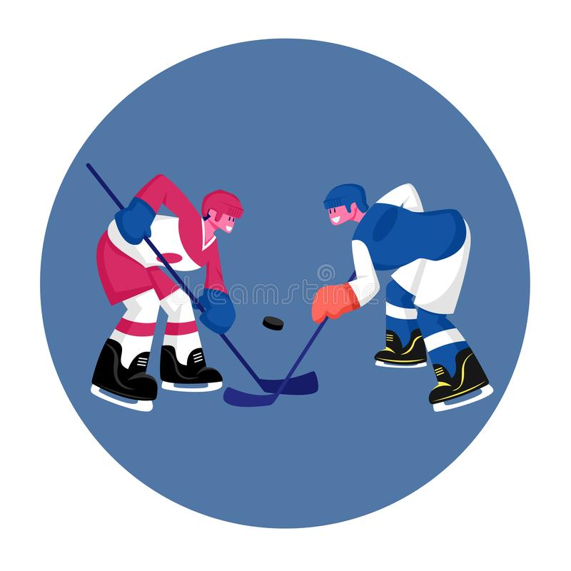Couple of Young Men in Sports Uniform with Sticks Practicing Hockey Game. Players Stand Face to Face on Ice Rink royalty free illustration