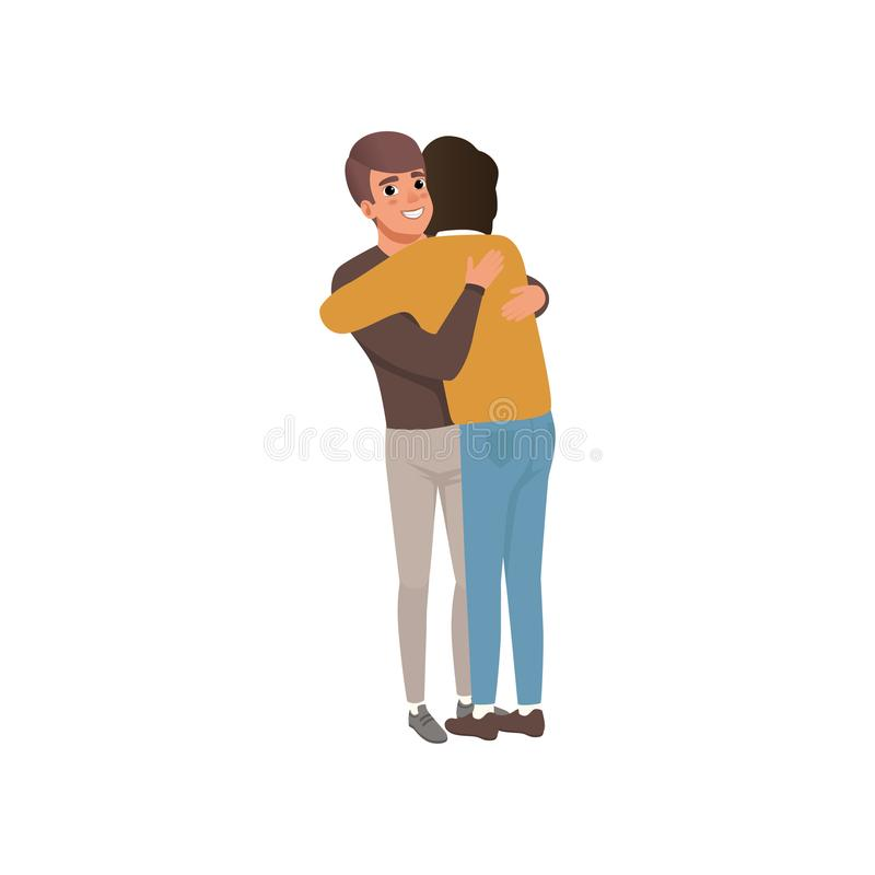 Couple of young men standing together and hugging, close friends embracing and smiling vector Illustration. Isolated on a white background royalty free illustration