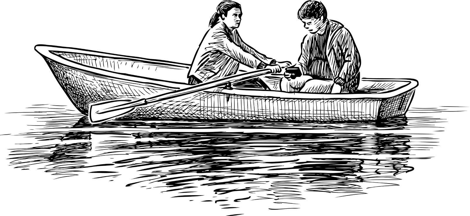 A couple of young people on a boat trip royalty free illustration