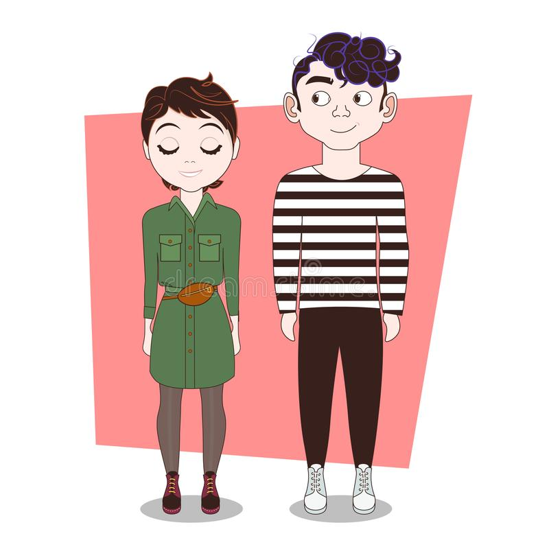 Couple Of Young People Hipsters In Moden Clothes Man And Woman Full Length vector illustration