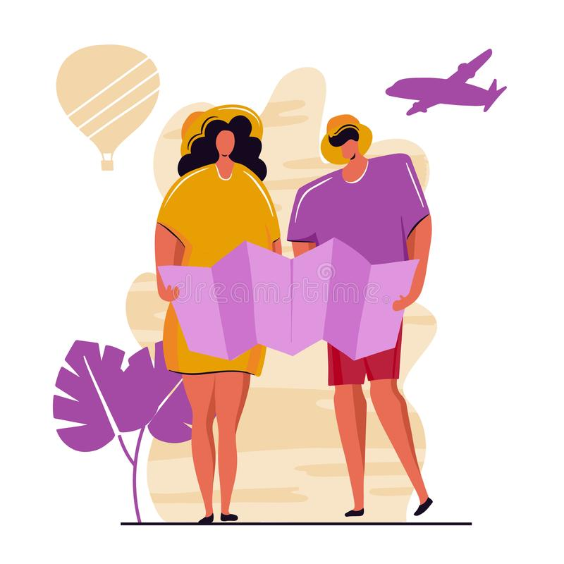 Couple of young people, man and woman with backpacks on holiday trip.flat cartoon characters. royalty free illustration
