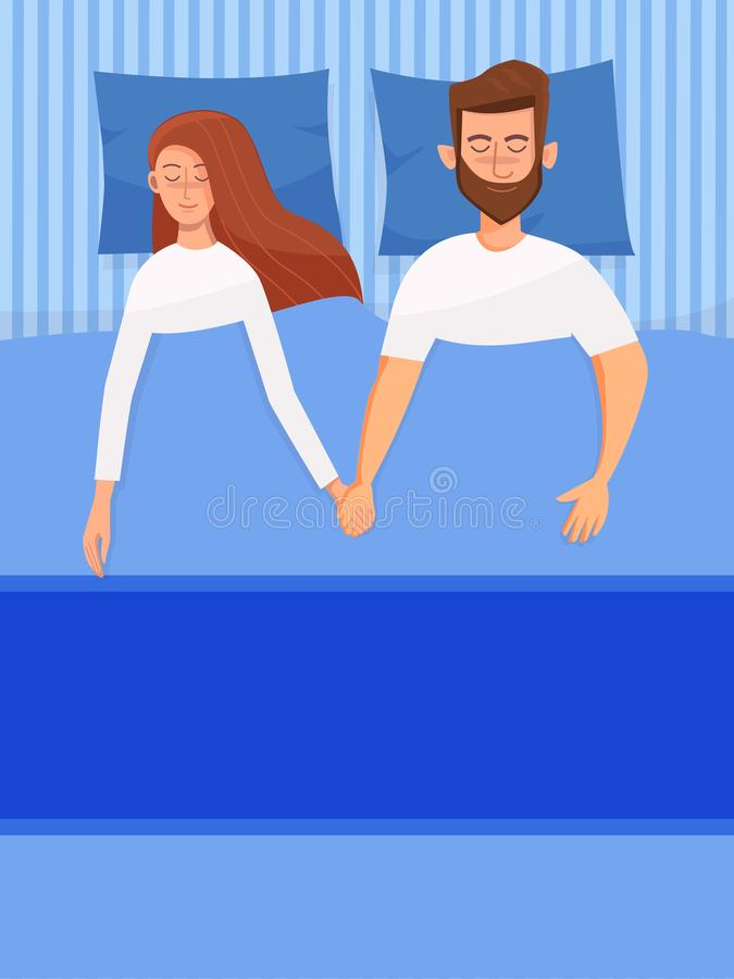 Couple of young people. Man and woman sleeping in the bed in the dark. Vector character illustration in a flat style vector illustration