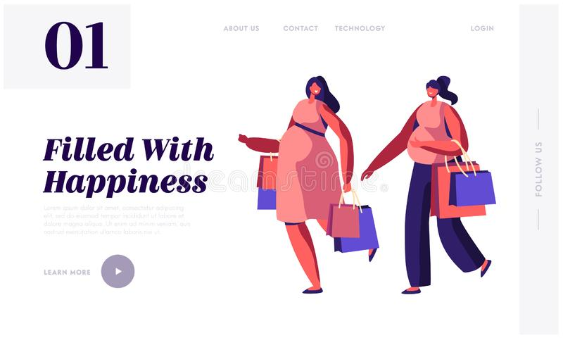 Couple of Young Pregnant Women Going Shopping Website Landing Page. Girls Expecting Babies Leisure, Spare Time, Meeting Friends. Happy Pregnancy Web Page stock illustration