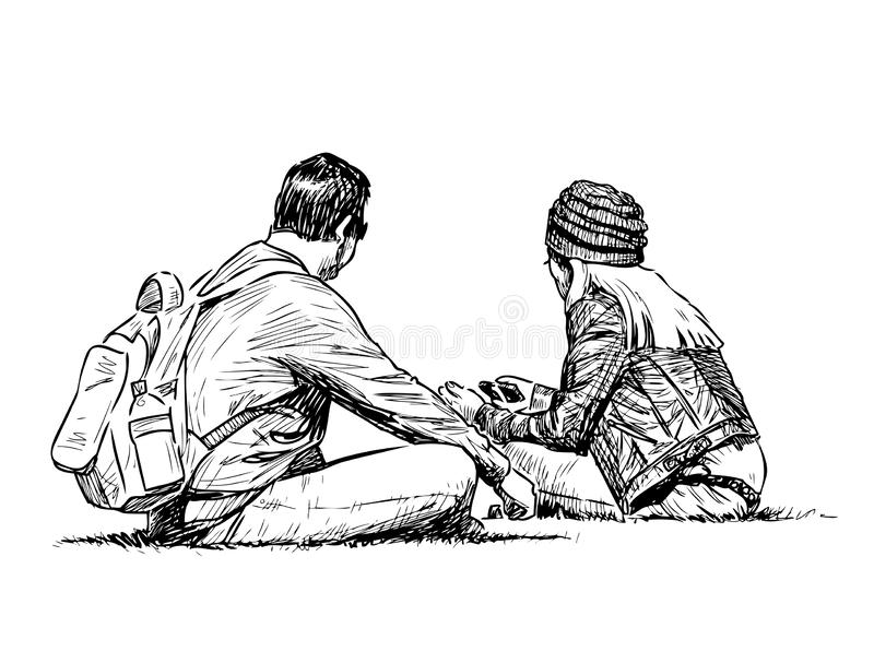 A couple of young tourists rests on the lawn grass stock illustration