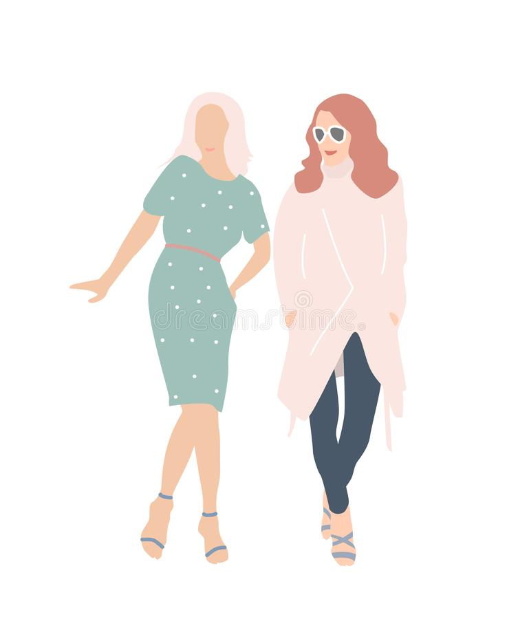 Couple of young women vector illustration