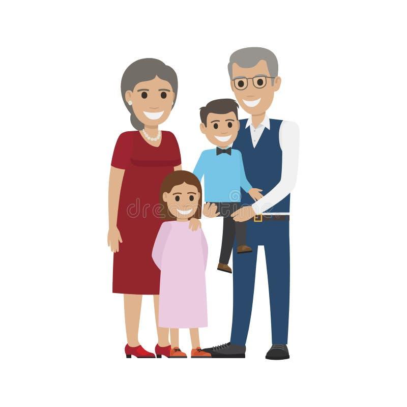 Couples âgés, petit-fils avec la petite-fille d'isolement illustration stock