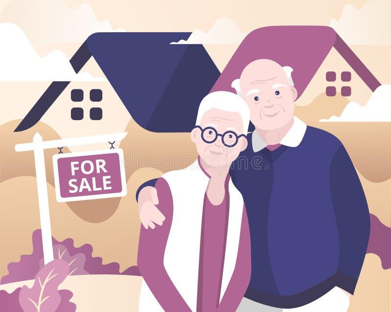 Couples âgés vendant la maison illustration de vecteur
