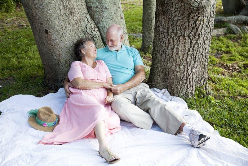 Couples aînés - arbres de dessous Romance image stock
