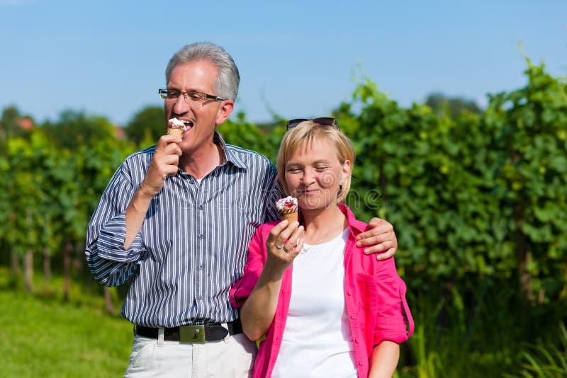 Couples aînés ayant la promenade avec la crême glacée photo stock
