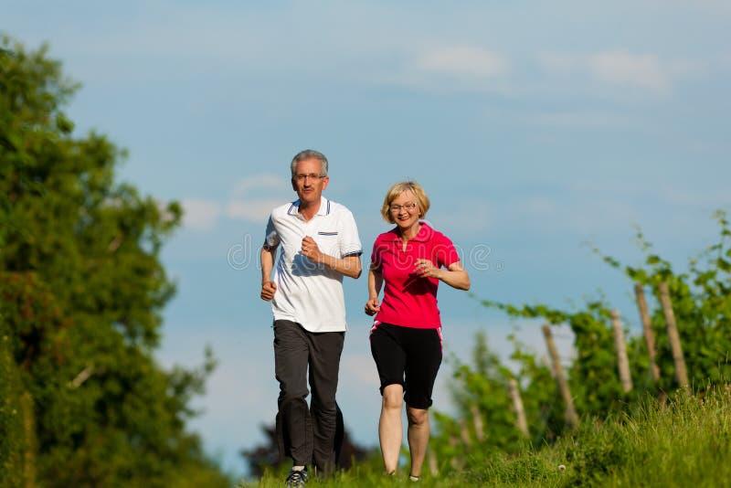 Couples aînés courant pour le sport images libres de droits