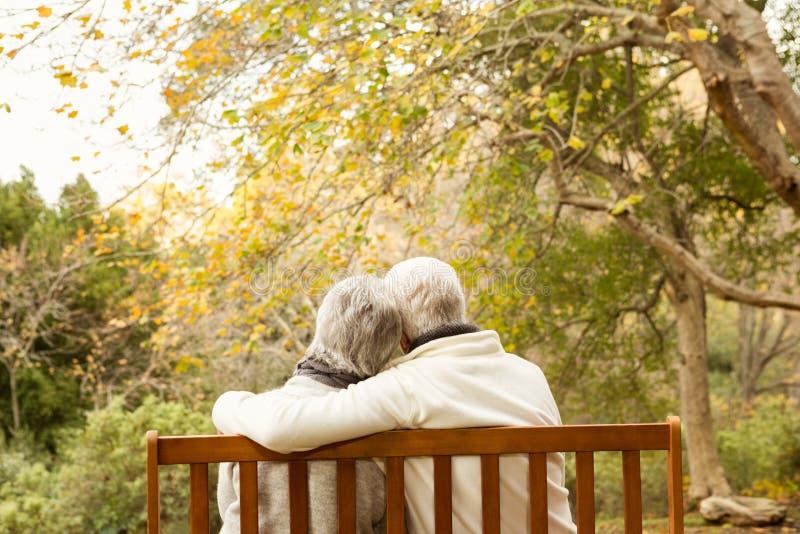 Couples aînés en stationnement photographie stock libre de droits
