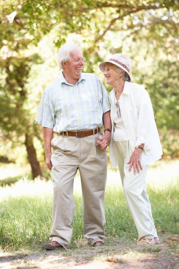 Couples aînés marchant en stationnement photo stock