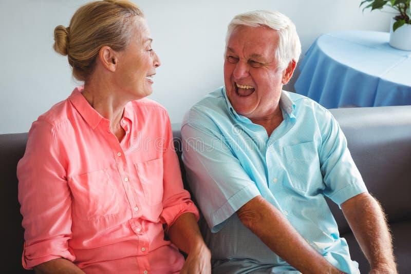 Couples aînés riant ensemble photographie stock libre de droits