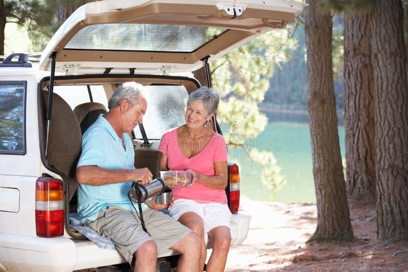 Couples aînés sur le pique-nique de pays image stock