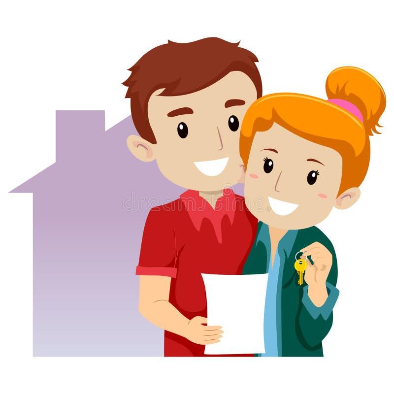 Couples achetés une nouvelle maison illustration stock