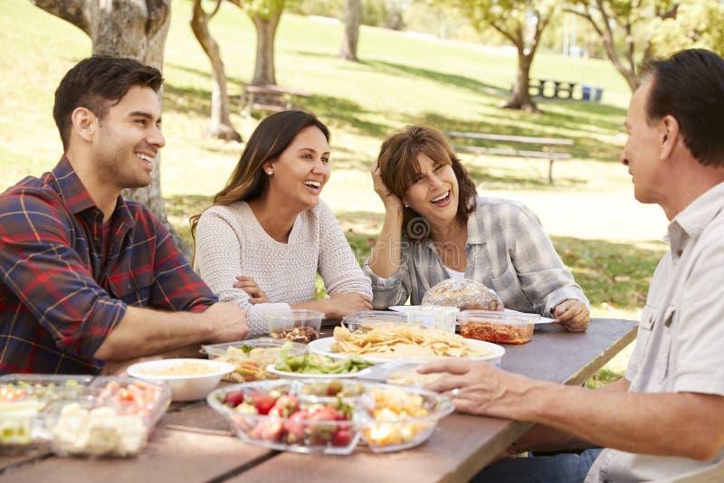 Couples adultes et parents supérieurs ayant un pique-nique dans un parc images libres de droits