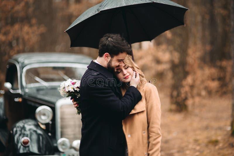 Couples affectueux élégants de mariage embrassant et étreignant dans une forêt de pin près de la rétro voiture photos libres de droits