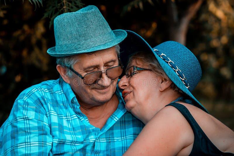 Couples affectueux de couples supérieurs s'étreignant au parc images stock