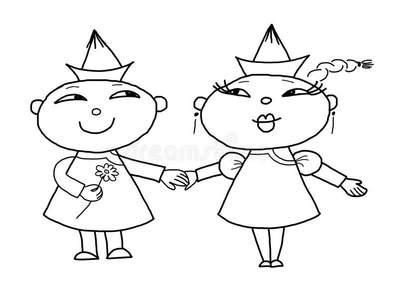 Couples affectueux, dessinant illustration libre de droits