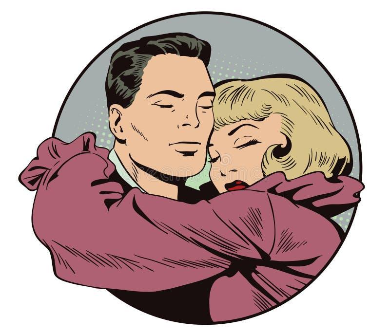 Couples affectueux Les gens dans le rétro style illustration de vecteur