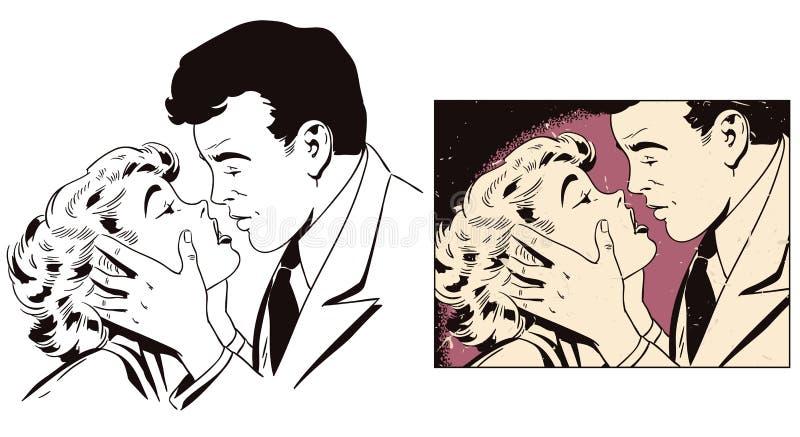 Couples affectueux Les gens dans le rétro style illustration stock