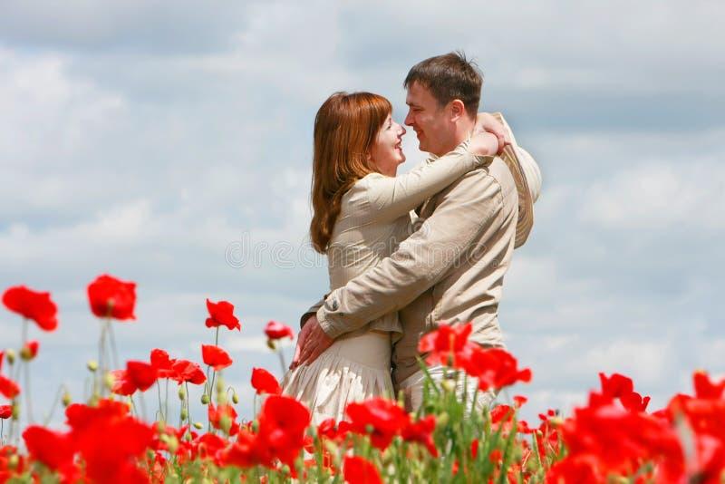 Couples affectueux sur la zone rouge de pavots photos libres de droits