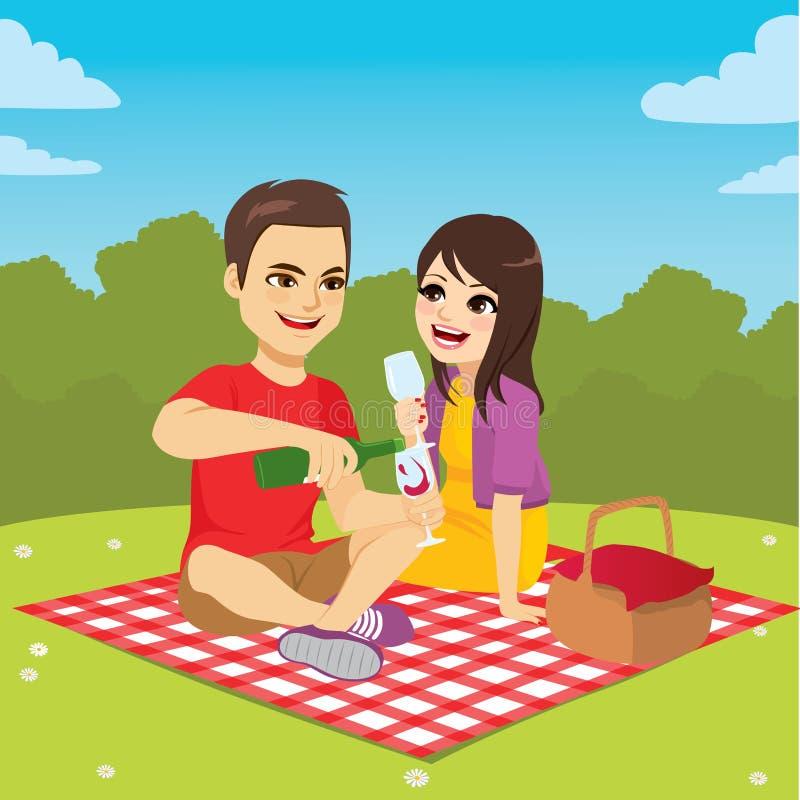 Couples appréciant la date de pique-nique illustration libre de droits