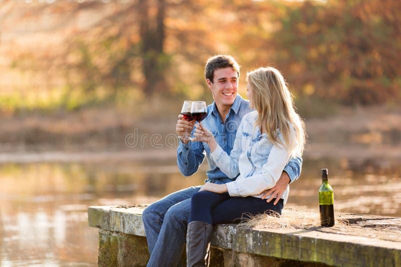 Couples appréciant le vin images libres de droits