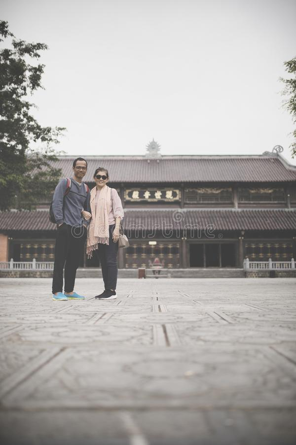 couples of asian tourist in chua bai dinh temple important traveling destination vietnam stock photos