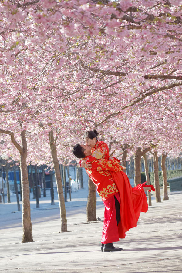 Couples asiatiques dans des vêtements traditionnels embrassant en parc de rose photo stock