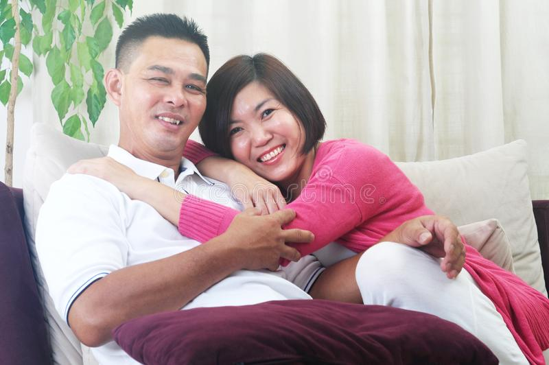 Couples asiatiques de Moyen Âge images libres de droits