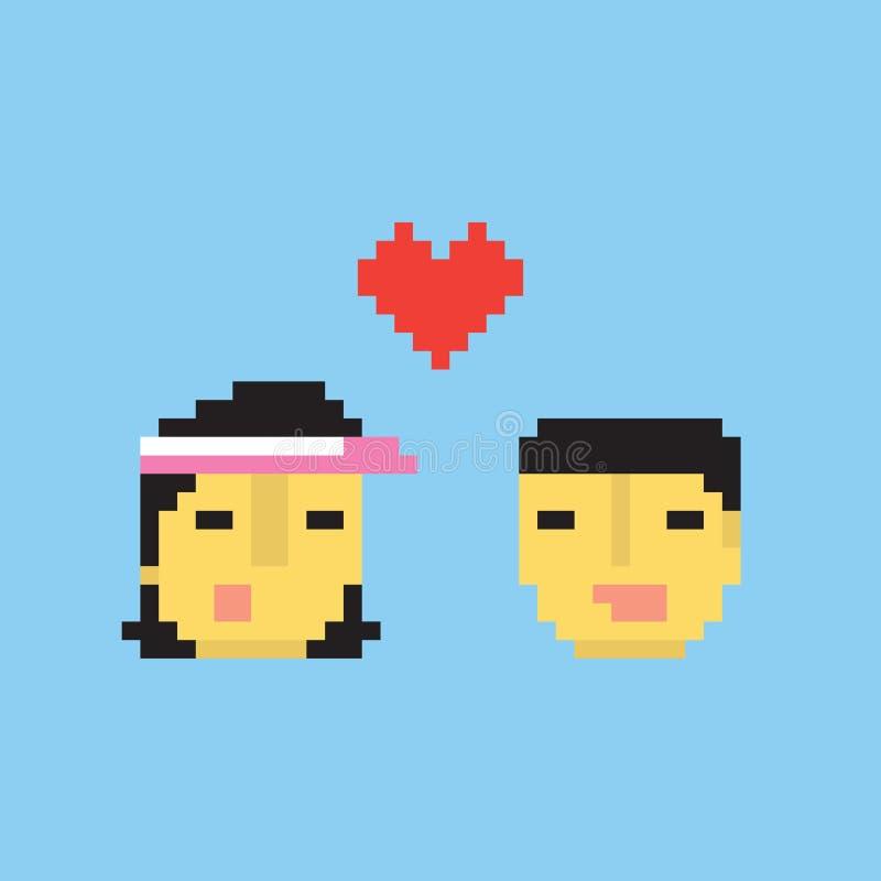 Couples asiatiques de style d'art de pixel dans l'illustration d'amour illustration libre de droits