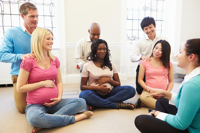 Couples Attending Ante Natal Class Together royalty free stock image