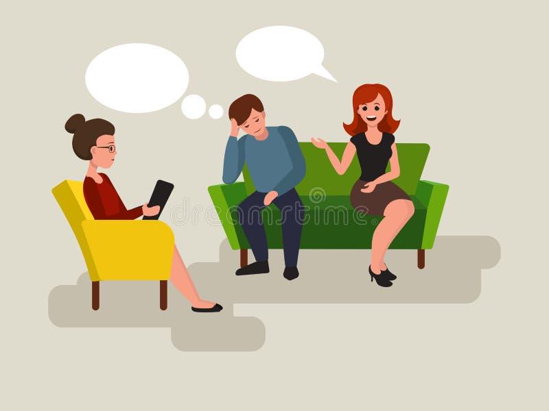 Couples au vecteur de bande dessinée de psychologue illustration stock
